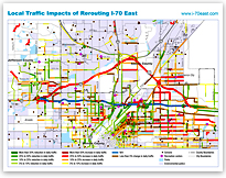Local Traffic Impacts of Rerouting I-70 East Map