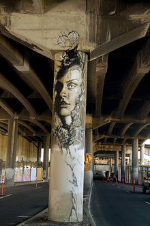 Photo of mural artwork painted under the I-70 viaduct during the 'duct-work Event (September 29, 2016).