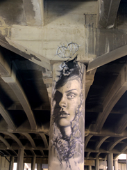 Photo of mural artwork painted under the I-70 viaduct during the 'duct-work Event (September 30, 2016).
