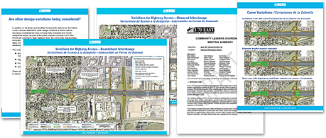April 16, 2014 Community Leaders Coordination Meeting exhibits and summary (thumbnail images). Exhibits include additional design variations for the Partial Cover Lowered Highway Alternative.