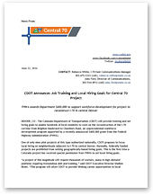 News: CDOT Announces Job Training and Local Hiring Goals for Central 70 Project (June 22, 2016) (thumbnail of letter)