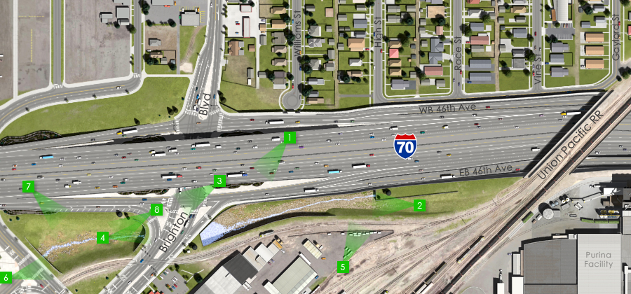 Click the map to view visuals of the Brighton Boulevard Interchange - Detention Ponds - Visualization of the I-70 East Preferred Alternative
