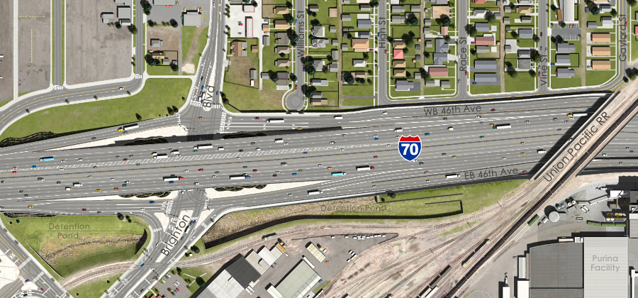 Visualization of the I-70 East Preferred Alternative - Brighton Boulevard Interchange Aerial View