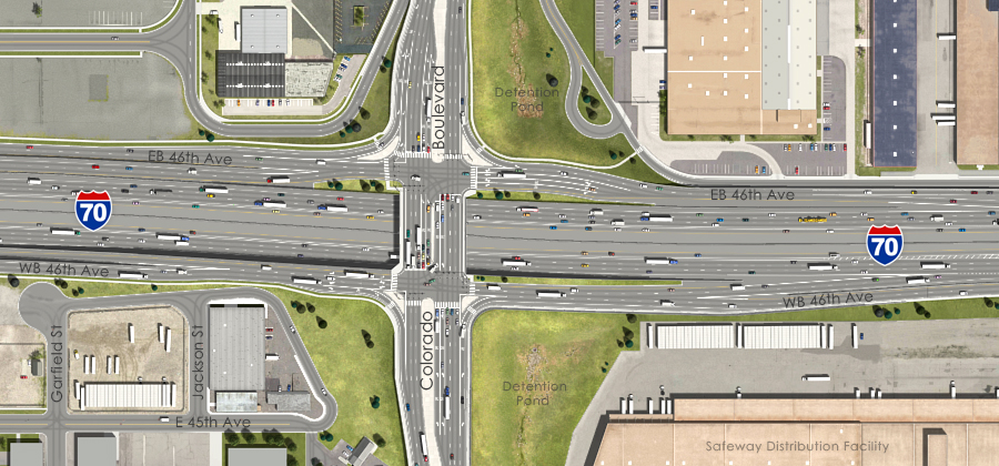 Visualization of the I-70 East Preferred Alternative - Colorado Boulevard Interchange Aerial View