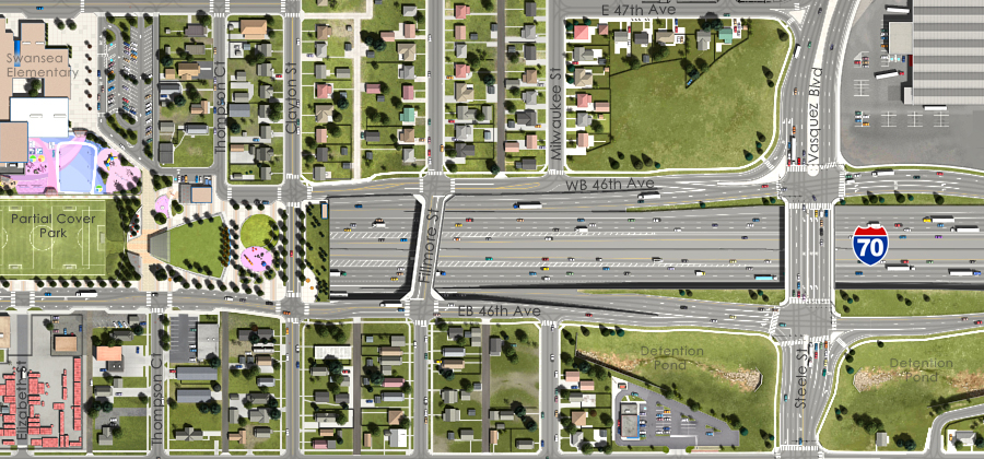 Visualization of the I-70 East Preferred Alternative - Fillmore Street Overpass Aerial View