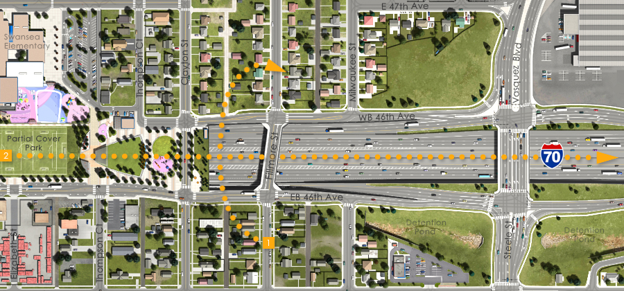 Visualization of the I-70 East Preliminarily Identified Preferred Alternative - Fillmore St Overpass