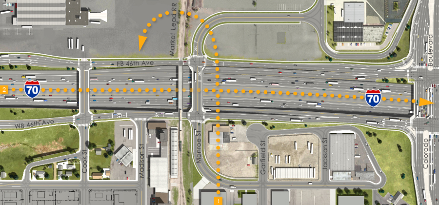 Visualization of the I-70 East Preliminarily Identified Preferred Alternative - Market Lead RR Overcrossing and Monroe St Overpass