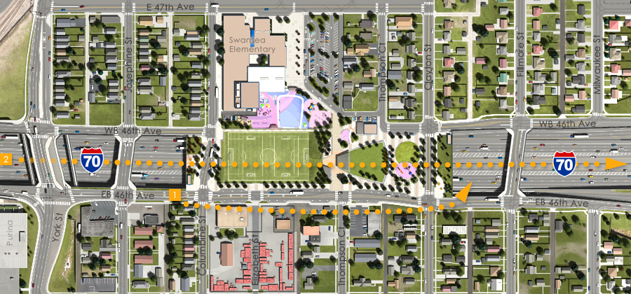 Visualization of the I-70 East Preliminarily Identified Preferred Alternative - Partial Cover