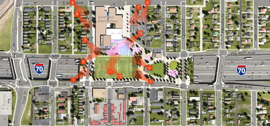 Visualization of the I-70 East Preferred Alternative - Partial Cover - Swansea Elementary School