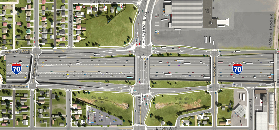 Visualization of the I-70 East Preferred Alternative - Steele St and Vasquez Boulevard Interchange Aerial View
