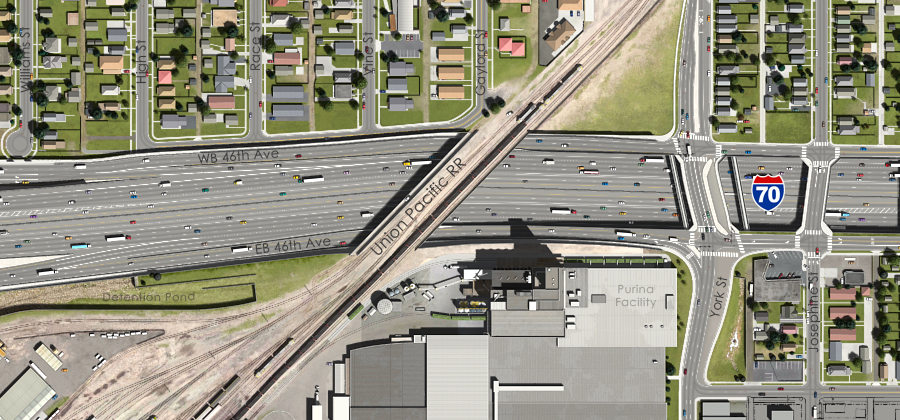 Visualization of the I-70 East Preferred Alternative - UPRR Overcrossing Aerial View