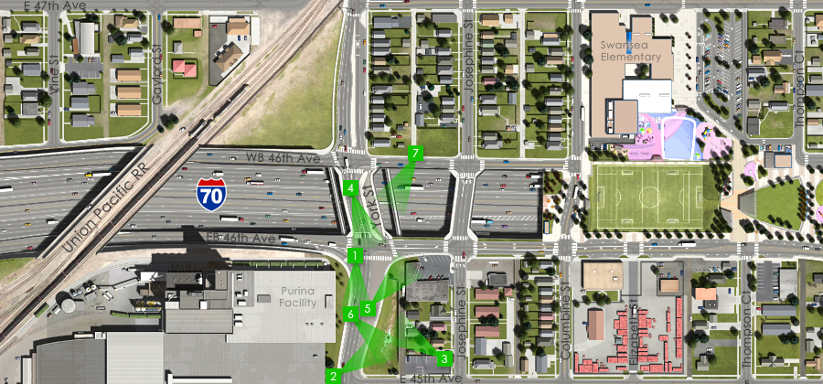 Click the map to view visuals of the York Street Interchange and Josephine Street Overpass - Detention Ponds - Visualization of the I-70 East Preferred Alternative